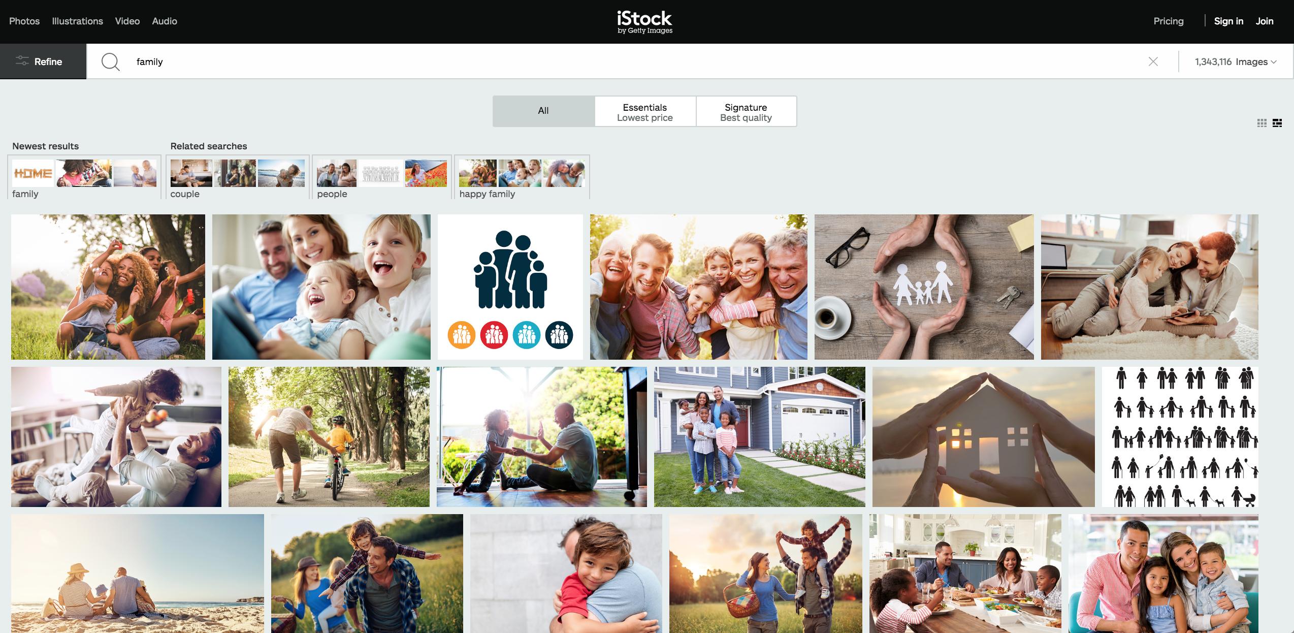 Сторінка фотостоку iStock. Скриншот екрана.
